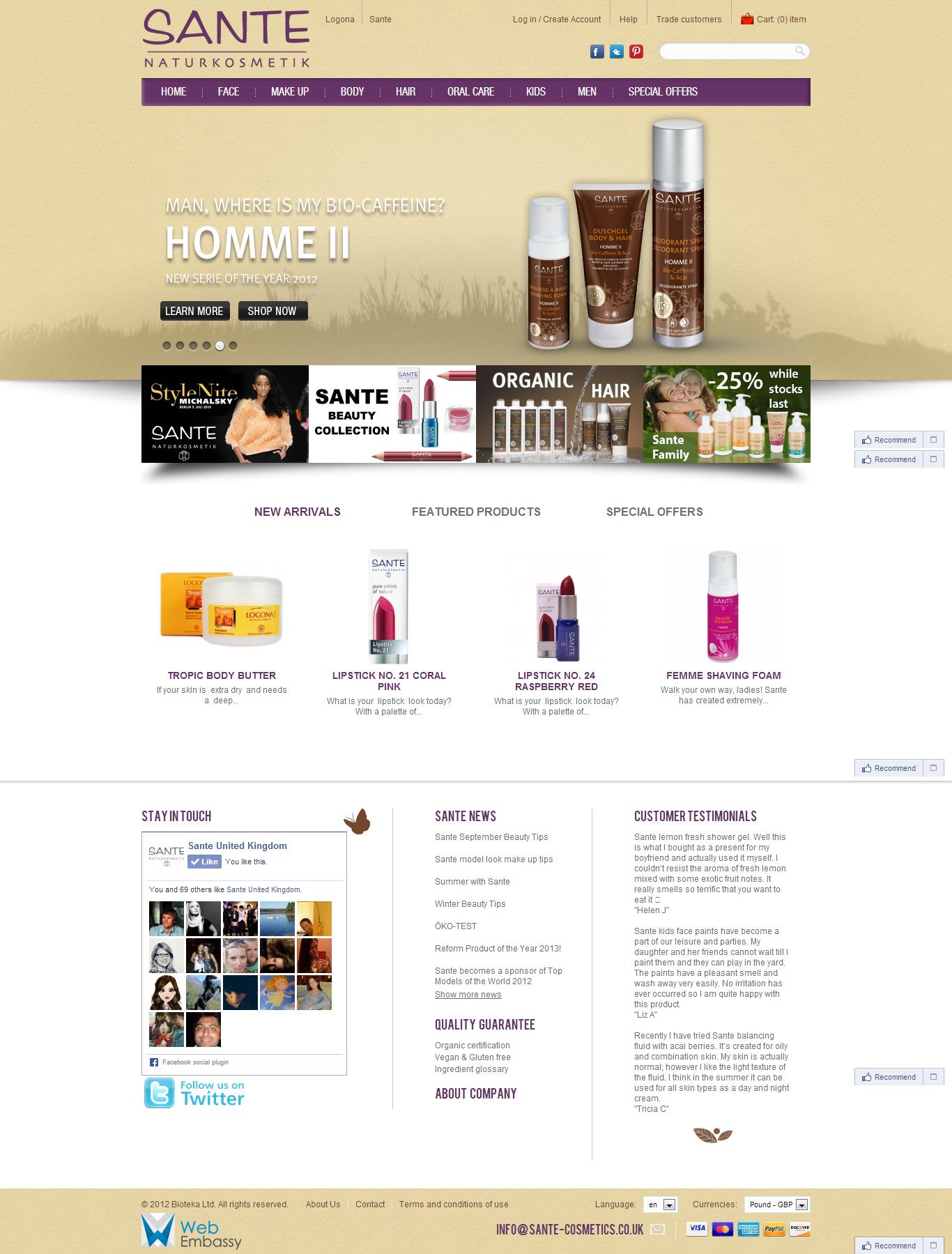 Интернет-магазин косметики Sante. Разработка веб-сайта, веб-дизайна, интеграция платежных систем и складского учета