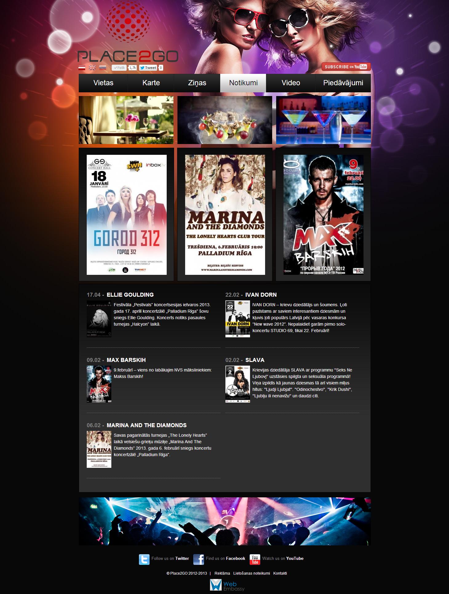 Создание интерактивного развлекательного веб-сайта для латвийской медиа компании PLACE2GO