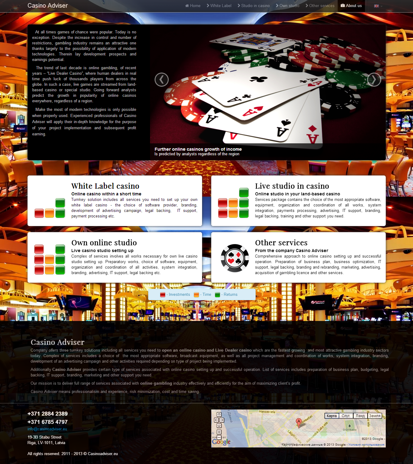 Разработан адаптивный веб-сайт для компании Casino Adviser. Создан веб-дизайн, адаптивность под мобильные и планшетные