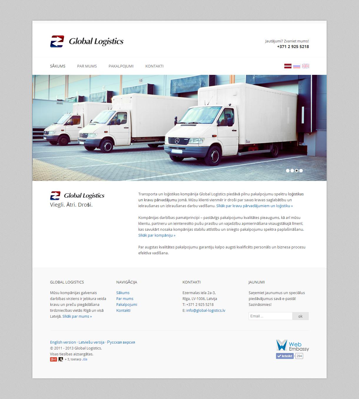 Веб-сайт для компании Global Logistics. Сайт - визитка с информацией о компании и ознакомлением со спектром услуг