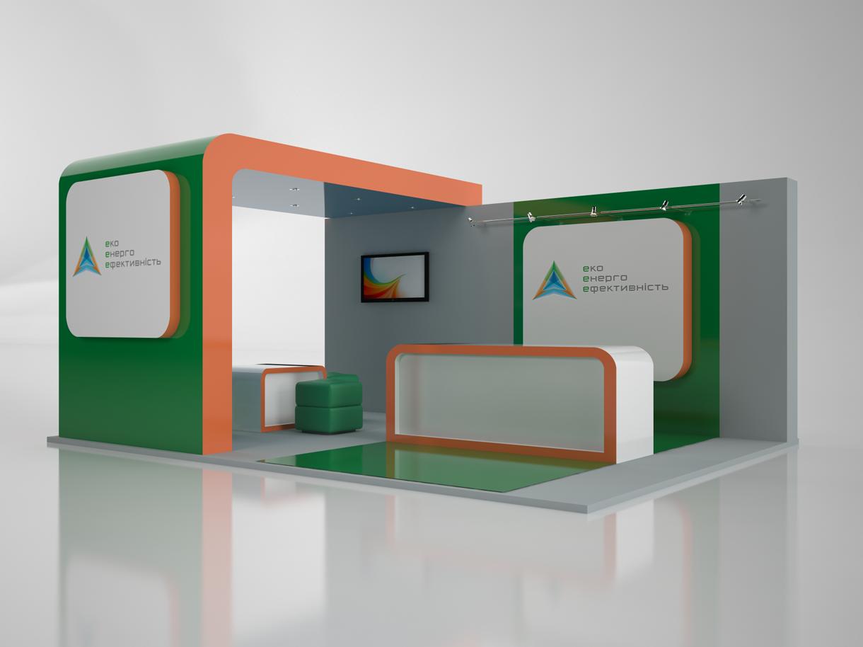 Создание выставочного стенда для Eco Energy Efficiency. Полная 3D модель стенда с информационным стендом